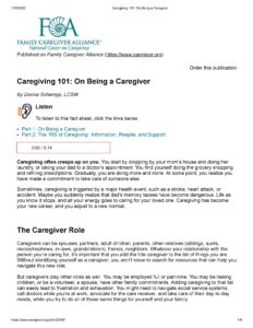 Caregiving 101-- On Being a Caregiver (FCA)